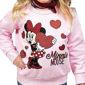Blusa Moleton Infantil com Estampa da Minnie Rosa Disney