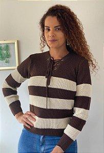 Blusa tricot listrada com cordão