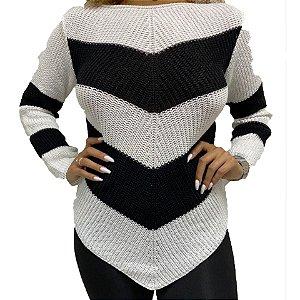 Blusa tricot listrada com bico