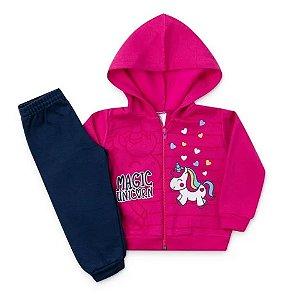 Conjunto Moletom Infantil Capuz e Zíper Magic Unicorn Pink BEBE