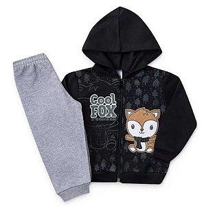 Conjunto Moletom Infantil Capuz e Zíper Cool Fox Preto