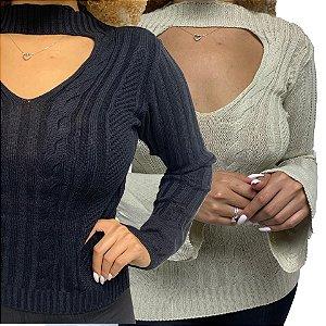 COMBO de 2 - Blusa Tricot com Abertura Frontal Preto e Bege