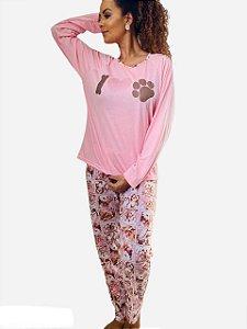 Pijama Calça e Blusa  I LOVE DOGS  - Tam GG