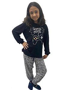 Pijama infantil manga longa e calça Game Over - Unissex
