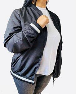 Jaqueta unissex estilo Bomber Preta