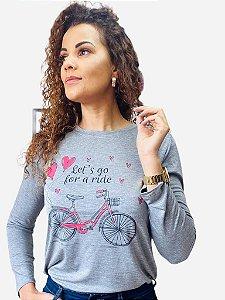 Blusa manga longa adulto - Bicicleta Let`s go for a ride