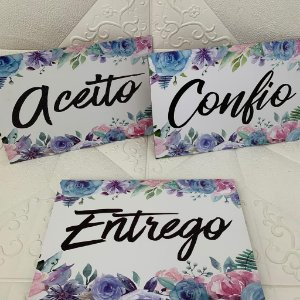 "Kit 3 Quadros ""Aceito, Confio, Entrego"""
