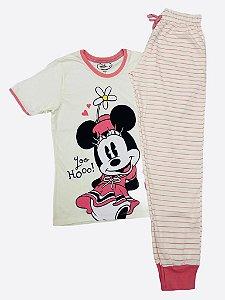 Pijama Infantil Minnie com Calça Listrada