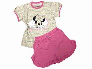 Pijama Infantil - Camiseta e shorts com babado Minnie