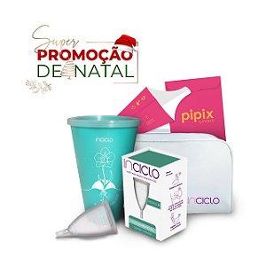 Promoção de Natal: Coletor Menstrual Modelo B + Copo Esterilizador + Necessaire + Pipix Descartável