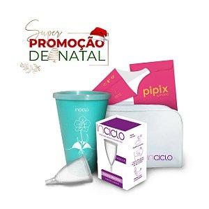 Promoção de Natal: Coletor Menstrual Modelo A + Copo Esterilizador + Necessaire + Pipix Descartável