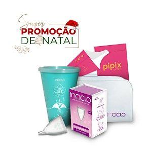 Promoção de Natal: Coletor Menstrual Modelo Teen + Copo Esterilizador + Necessaire + Pipix Descartável