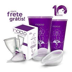 Kit Frete Grátis: 2 Coletores Menstruais (A+B) + 2 Lovin Disco Menstrual + 2 Copos Esterilizadores