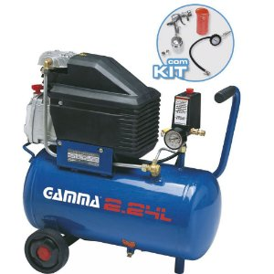 Compressor de Ar 25 com Kit de Pintura - 2HP 24 Litros - Gamma