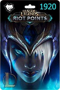 Cartão League Of Legends 1920 Riot Points Lol Rp Br - Código Digital