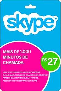 Cartão Skype R$27 Reais Ligue Para Qualquer Lugar Do Mundo - Código Digital