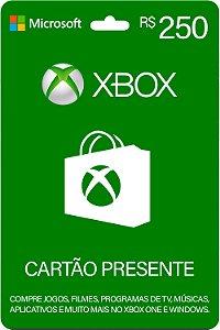 Cartão Presente Xbox R$ 250 Reais Brasil Gift Card - Código Digital