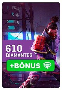 Cartão Garena Free Fire 610 + 10% Bônus! 671 Diamantes - Recarga na Conta