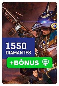 Cartão Garena Free Fire 1550 + 10% Bônus! 1705 Diamantes - Recarga na Conta