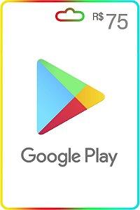 Cartão Google Play Brasil R$75 Reais Vale Presente - Código Digital
