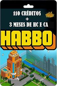 Cartão Habbo  3 meses Habbo Club e Clube Arquiteto +110 Créditos