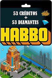 Cartão Habbo 53 Créditos + 53 Diamantes