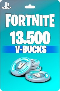 Cartão Fortnite 13.500 V-Bucks PSN PS4 - Código Digital