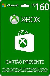 Cartão Presente Xbox R$ 160 Reais Brasil Gift Card - Código Digital
