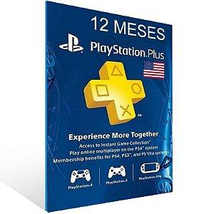 Cartão Playstation Network Plus 12 Meses - CÓDIGO AMERICANO - Código Digital