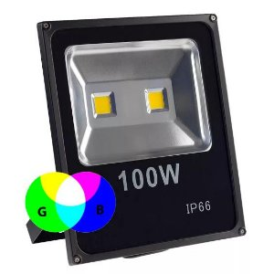REFLETOR SLIM COLORIDO IP66 100W BIVOLT VERDE/AZUL