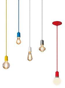Pendente Alumínio + Lâmpada LED Filamento Vintage Retrô T30 8W Âmbar E27 Bivolt
