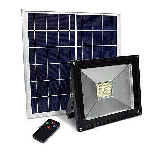 Refletor Holofote Led Solar 30W IP66 Controle Remoto e Bateria Interna
