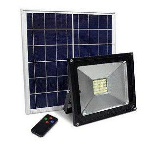 Refletor Holofote Led Solar 50W IP66 Controle Remoto e Bateria Interna