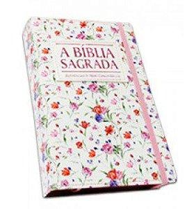 Bíblia Letra Grande Flor Rosa