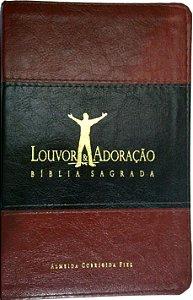 Bíblia Louvor e Adoração Capa Luxo Bordô e Marrom