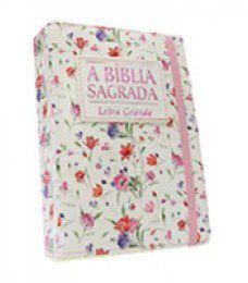 Bíblia Média Letra Grande Floral Rosa