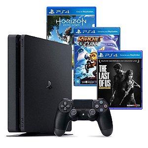 Playstation 4 Slim 500GB Bundle: Horizon Zero Dawn / The Last of Us / Ratchet and Clank + 3 Meses Plus - Sony (Americano)