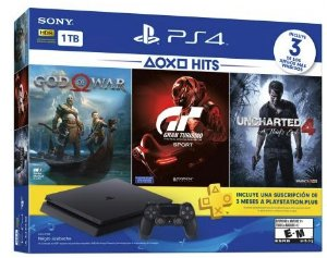 Playstation 4 Slim 1TB + Jogo God of War 4 + Gran Turismo + Untcharted 4