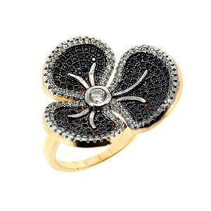 Anel Semijoia Flor Cravejado Zircônias Black Folheado Ouro 18k AN001