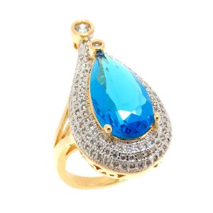 Anel Semijoia Dubai Cristal Topázio Áqua Cravejado Zircônias Folheado Ouro 18k AN007