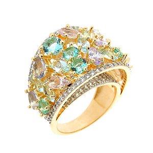 Anel Semijoia Radha Cristal Multicolor Cravejado Zircônias Folheado Ouro 18k AN008