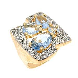 Anel Semijoia Mônaco Cristal Água Marinha Cravejado Zircônias Folheado Ouro 18k AN011