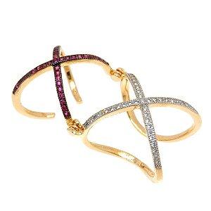 Anel Semijoia X Articulado Cravejado Zircônias Diamond e Rubi Folheado Ouro 18k AN013
