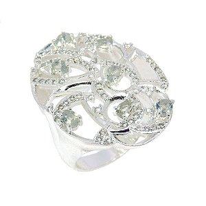 Anel Semijoia Aqaba Cravejado Zircônias Diamond Folheado Prata AN038