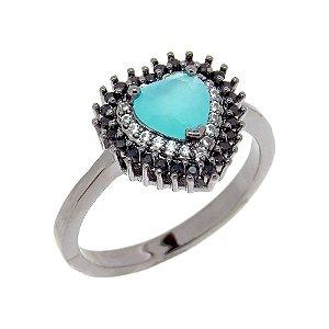 Anel Semijoia Mini Coração Azul Tiffany Cravejado Zircônias Folheado Ródio Negro AN043