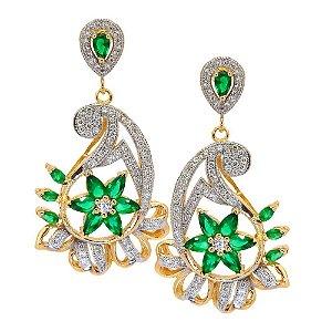 Brinco Semijoia Pavlova Cravejado Zircônias Esmeralda e Diamond Folheado Ouro 18k BR003