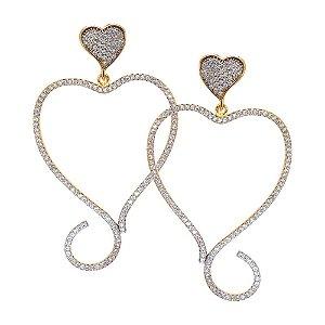 Brinco Semijoia Coração Cravejado Zircônias Diamond Folheado Ouro 18k BR004
