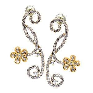 Brinco Semijoia Primavera Cravejado Zircônias Diamond Folheado Ouro 18k BR008