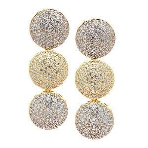 Brinco Semijoia Círculos Cravejado Zircônias Diamond Folheado Ouro 18k BR011