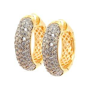 Brinco Semijoia Argola Cravejado Zircônias Diamond Folheado Ouro 18k BR012